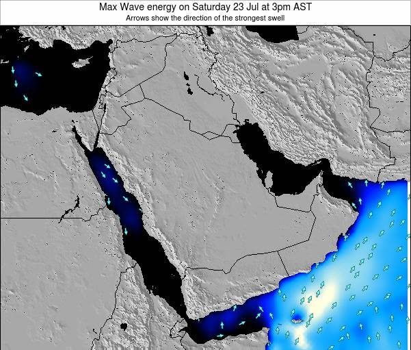 Kuwait Max Wave energy on Sunday 22 Jul at 3am AST map