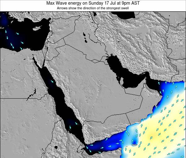 Kuwait Max Wave energy on Tuesday 16 Oct at 3pm AST map