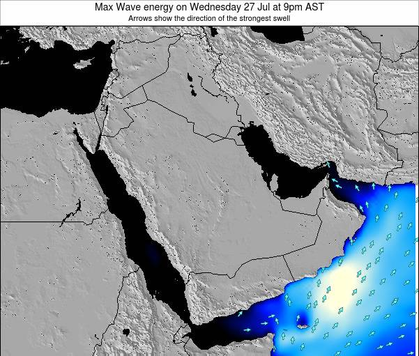 Kuwait Max Wave energy on Friday 22 Feb at 3am AST map
