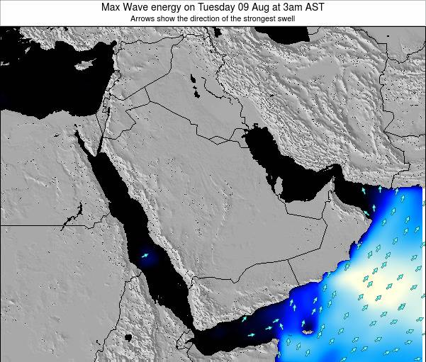 Kuwait Max Wave energy on Tuesday 20 Aug at 3am AST map