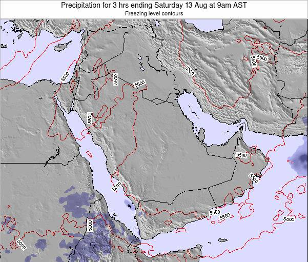 Qatar Precipitation for 3 hrs ending Monday 24 Jun at 3pm AST map