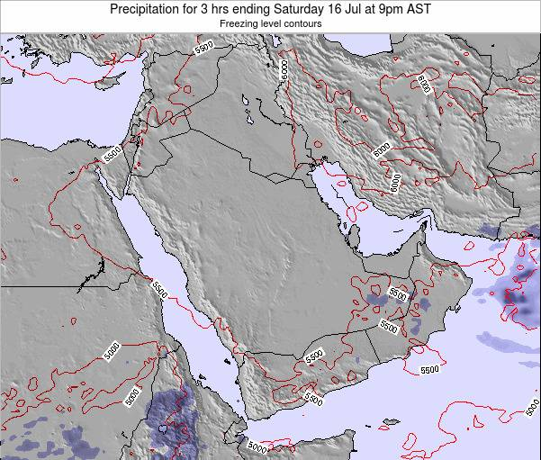 Qatar Precipitation for 3 hrs ending Thursday 20 Jun at 3pm AST map