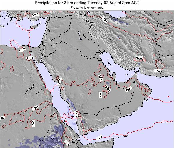Saudi Arabia Precipitation for 3 hrs ending Friday 21 Jun at 9am AST map