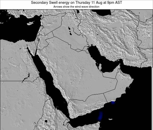 Oman Secondary Swell energy on Wednesday 24 Apr at 9pm AST map