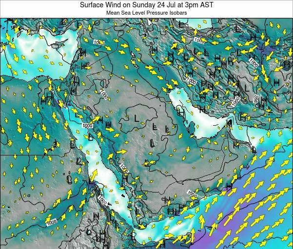 Oman Surface Wind on Friday 24 May at 9pm AST map