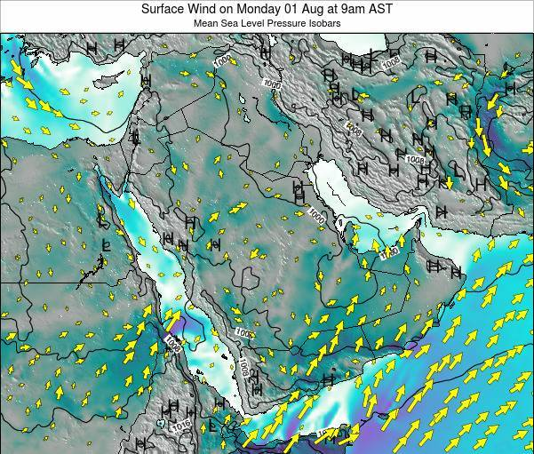 Saudi Arabia Surface Wind on Wednesday 19 Jun at 9pm AST map