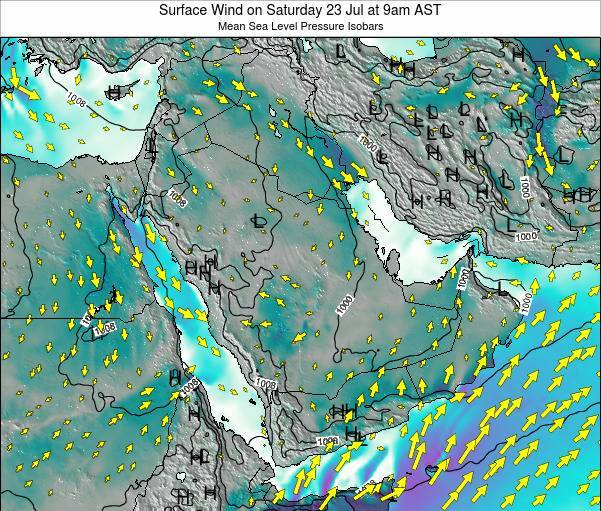 SaudiArabia Surface Wind on Saturday 17 Mar at 3am AST map