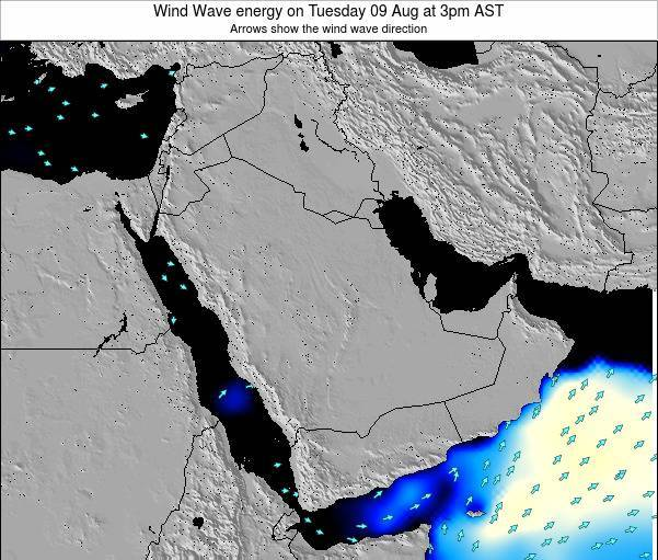 Oman Wind Wave energy on Monday 23 Jul at 9am AST map