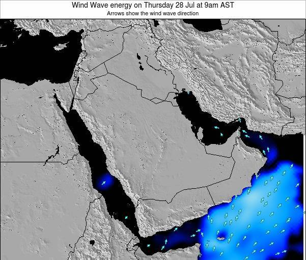 Oman Wind Wave energy on Wednesday 25 Apr at 9am AST map