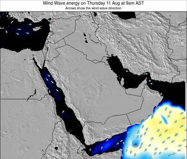 Oman Wind Wave energy on Tuesday 23 Jan at 3am AST map
