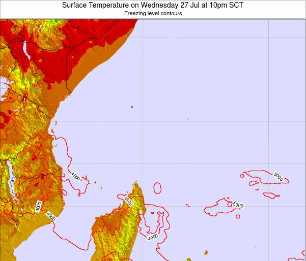 Seychelles Surface Temperature on Wednesday 27 May at 10am SCT