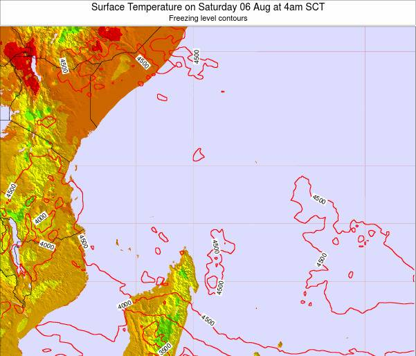 Seychelles Surface Temperature on Friday 25 Jul at 4am SCT