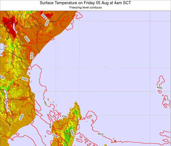 Seychelles Surface Temperature on Saturday 02 Aug at 4am SCT