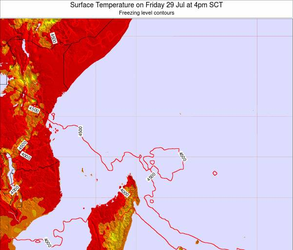 Seychelles Surface Temperature on Tuesday 28 May at 10am SCT