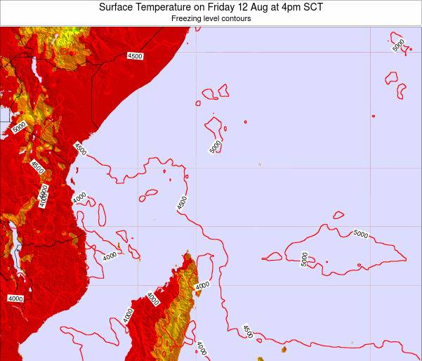 Seychelles Surface Temperature on Sunday 03 Aug at 4am SCT