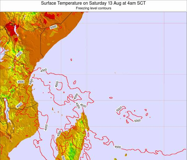 Seychelles Surface Temperature on Monday 07 Sep at 4pm SCT
