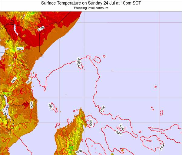Seychelles Surface Temperature on Monday 17 Mar at 10pm SCT