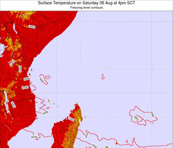 Seychelles Surface Temperature on Friday 22 Aug at 4am SCT