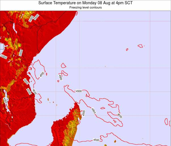 Seychelles Surface Temperature on Monday 22 Jan at 4pm SCT map