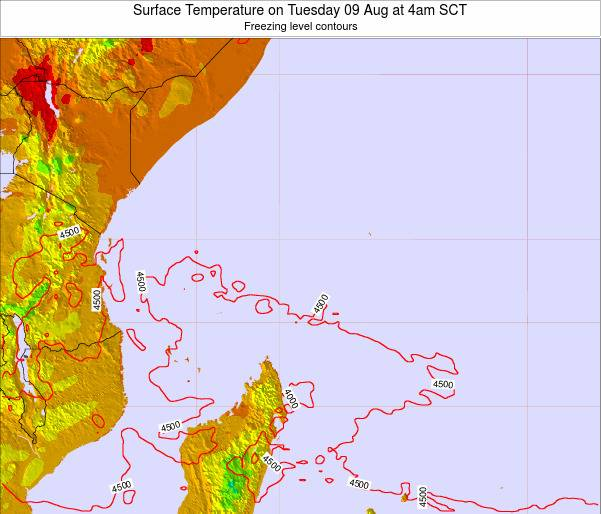 Seychelles Surface Temperature on Thursday 13 Mar at 10pm SCT