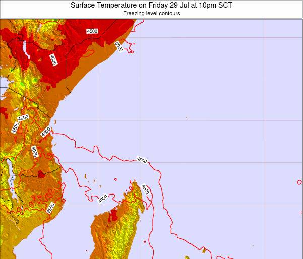 Ilhas Seychelles Surface Temperature on Monday 23 Jan at 4am SCT