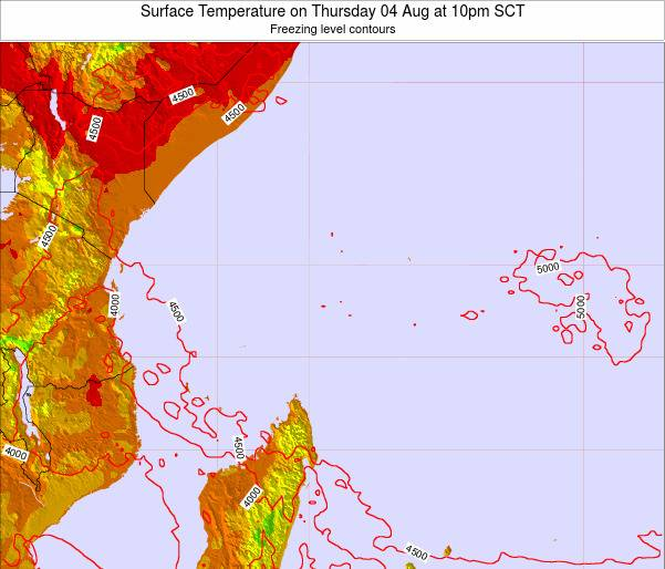 Seychelles Surface Temperature on Sunday 19 May at 4pm SCT