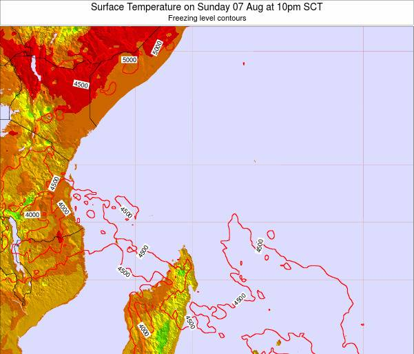 Ilhas Seychelles Surface Temperature on Friday 21 Oct at 10pm SCT