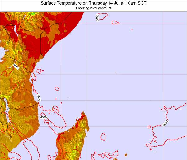 Ilhas Seychelles Surface Temperature on Saturday 25 Oct at 4pm SCT