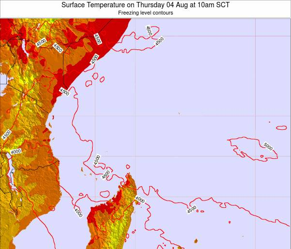 Seychelles Surface Temperature on Wednesday 26 Oct at 10am SCT