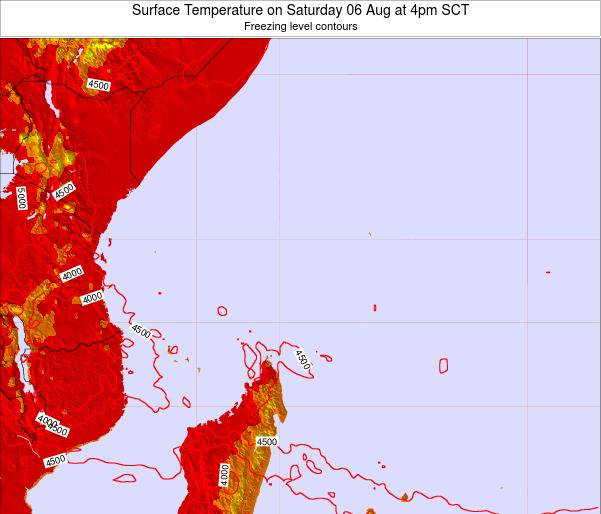 Seychelles Surface Temperature on Monday 20 May at 10pm SCT