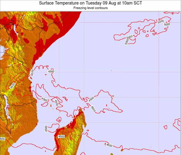 Seychelles Surface Temperature on Saturday 07 May at 10pm SCT