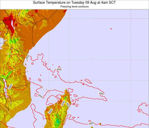 Seychelles Surface Temperature on Thursday 02 Jul at 4am SCT
