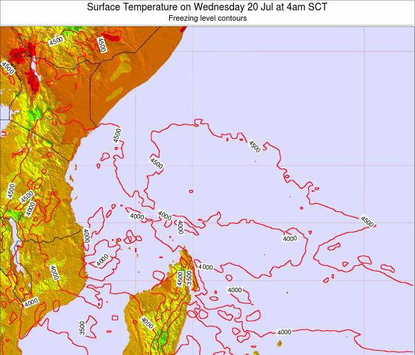 Seychelles Surface Temperature on Saturday 19 Apr at 4pm SCT