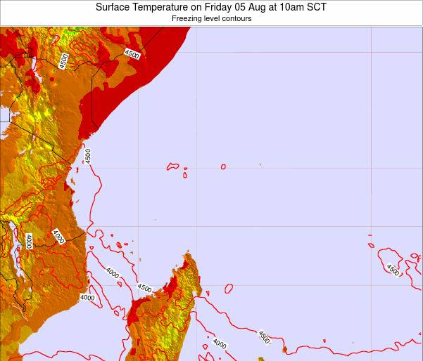 Seychelles Surface Temperature on Saturday 26 Jul at 4am SCT