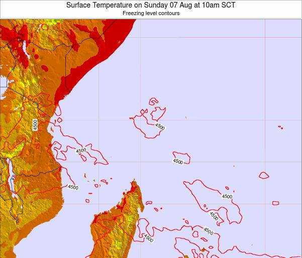 Seychelles Surface Temperature on Wednesday 12 Mar at 4am SCT