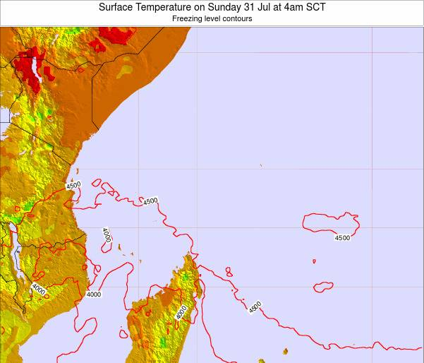 Seychelles Surface Temperature on Sunday 27 Apr at 10am SCT