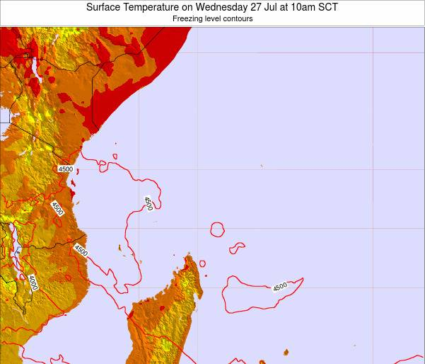 Seychelles Surface Temperature on Sunday 26 Oct at 10am SCT