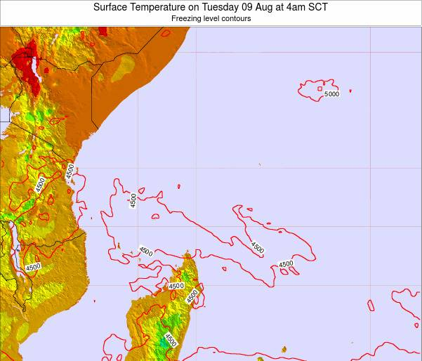 Seychelles Surface Temperature on Monday 27 Oct at 10am SCT