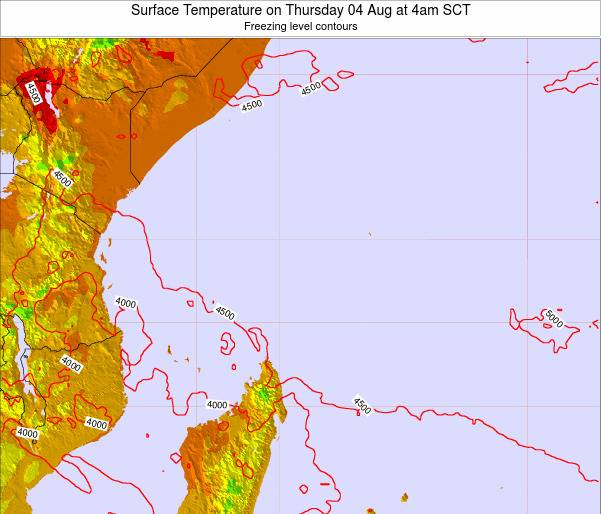 Seychelles Surface Temperature on Sunday 27 Apr at 4am SCT