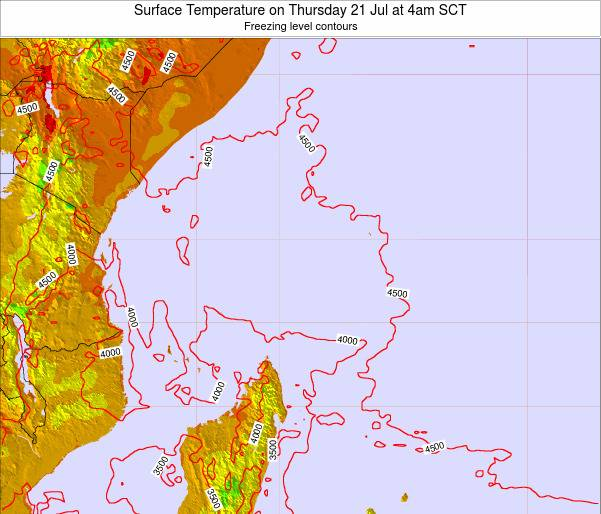 Seychelles Surface Temperature on Monday 28 Jul at 4am SCT