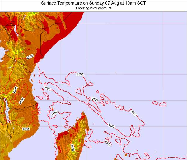 Seychelles Surface Temperature on Sunday 24 Aug at 4am SCT