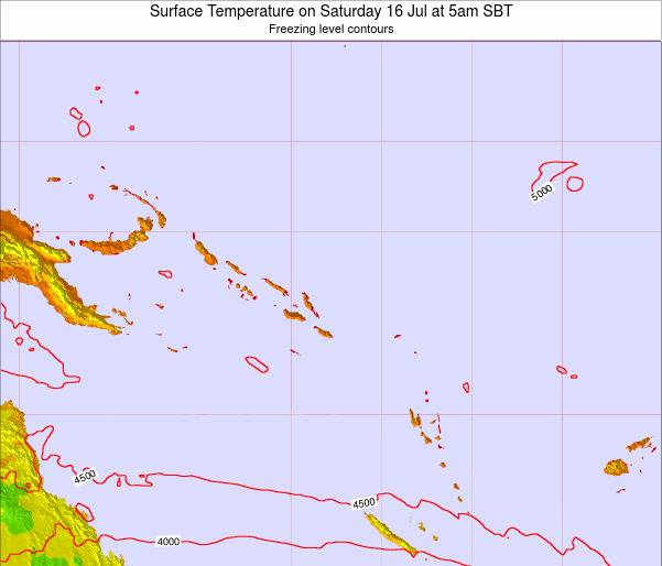Solomon Islands Surface Temperature on Wednesday 19 Jun at 11am SBT map