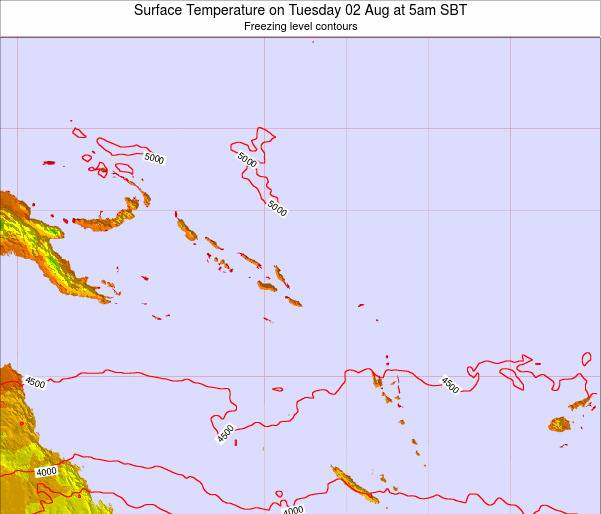 Solomon Islands Surface Temperature on Wednesday 22 May at 5am SBT map