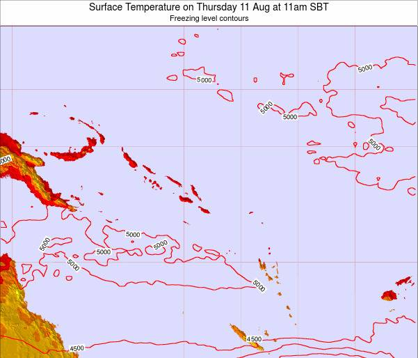 Solomon Islands Surface Temperature on Saturday 25 May at 11am SBT map