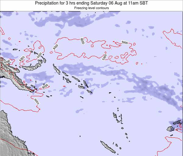 Solomon Islands Precipitation for 3 hrs ending Sunday 23 Sep at 5pm SBT map