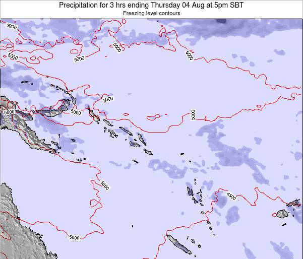 Solomon Islands Precipitation for 3 hrs ending Tuesday 18 Jun at 5pm SBT map