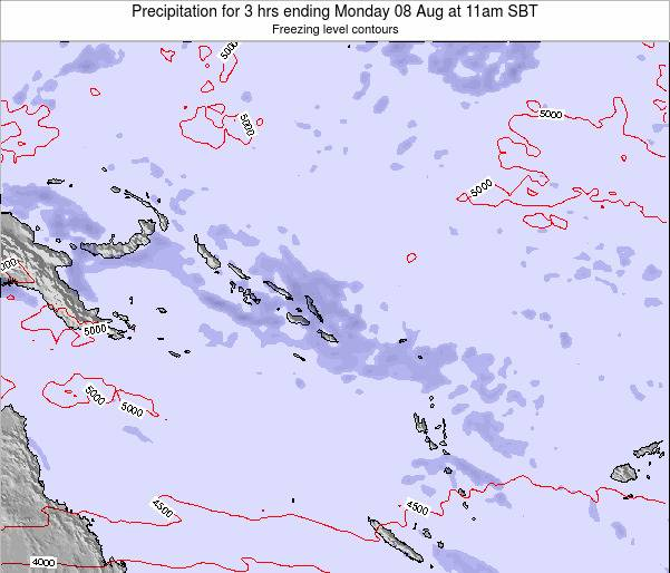 Solomon Islands Precipitation for 3 hrs ending Saturday 25 Feb at 5pm SBT