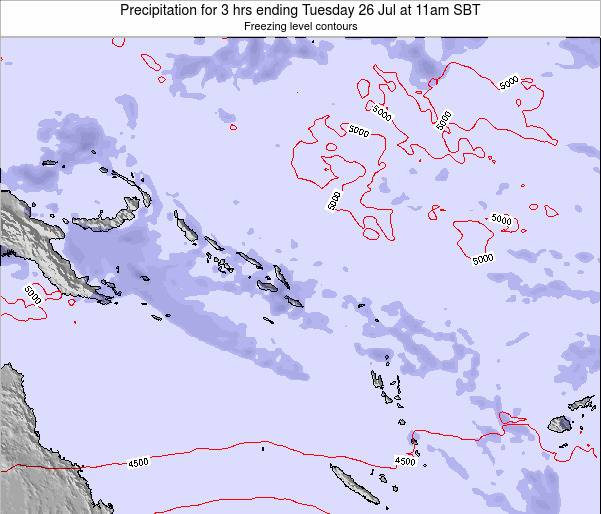 Solomon Islands Precipitation for 3 hrs ending Tuesday 17 Jul at 5pm SBT map