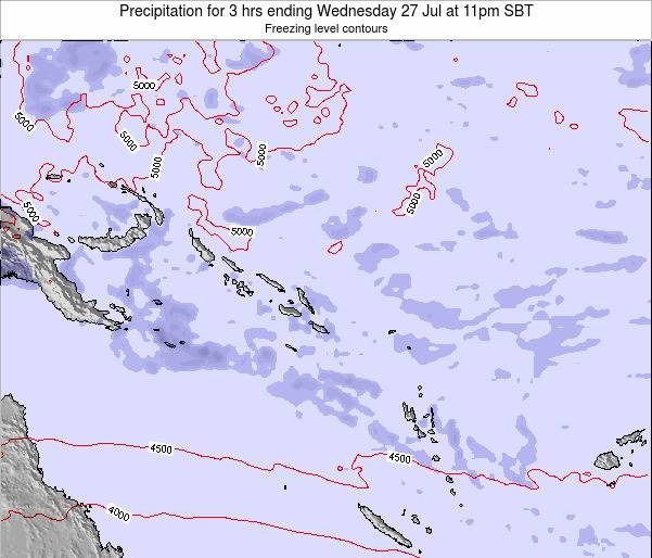 Solomon Islands Precipitation for 3 hrs ending Friday 21 Dec at 11pm SBT map