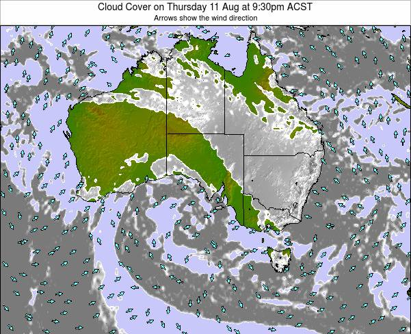 South-Australia Cloud Cover on Thursday 23 May at 3:30am CST map